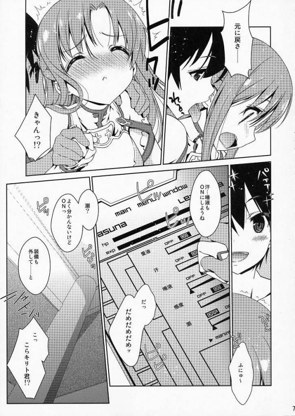 【SAO エロ同人】SAOの中で愛液や精子や汗をMAXに設定してアスナとキリトがセクロス【無料 エロ漫画】06