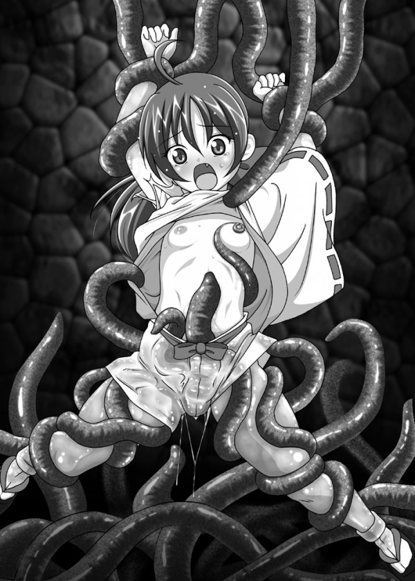 【エロ漫画・エロ同人誌】パイパンちっぱい少女が触手に犯され崩壊www拘束されて全身弄ばれロリまんこもアナルも犯されまくって徐々に意識も遠のき触手精液中出しされちゃって終了www 19
