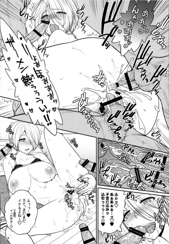 【KOF エロ漫画・エロ同人誌】巨乳のアンヘルが男達に囲まれて逆ハーレムになってチンコ頂きまくりw2穴セックスで3本挿入して中出しされてるwww (15)