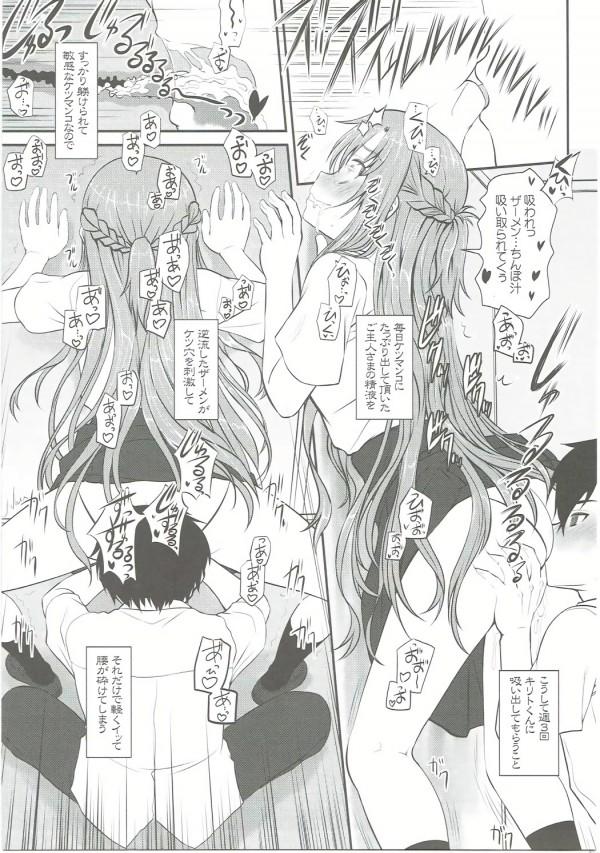 【SAO エロ漫画・エロ同人】巨乳の結城明日奈が桐ヶ谷和人からアナル調教されてるwすっかりアナルの虜になっちゃって中出しされたザーメンに栓しちゃってるしwww (14)