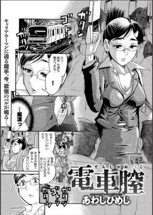 【エロ漫画】クール系美人OLが電車の中で同僚から痴漢され周りのおっさんも加わって電車の中でセックスして乱れまくる!【あわじひめじ エロ同人】
