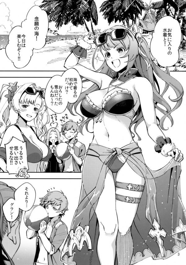 【グラブル エロ漫画・エロ同人】ベアトリクスの水着姿にグランが勃起したので中出しセックスをしちゃう (2)