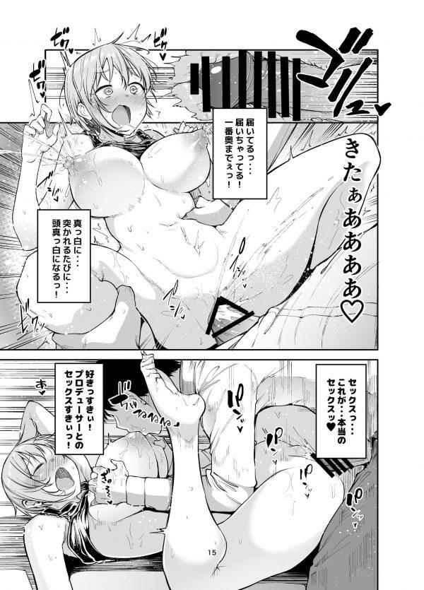 【デレマス エロ同人】巨乳の相葉夕美が母乳出るみたいだからってPが興奮しまくって早速乳搾りしちゃうww乳首弄ったらすぐ母乳溢れちゃってチューチュー吸ったり、まんこも手マンでとろとろにしてチンポガン突き~!! (15)
