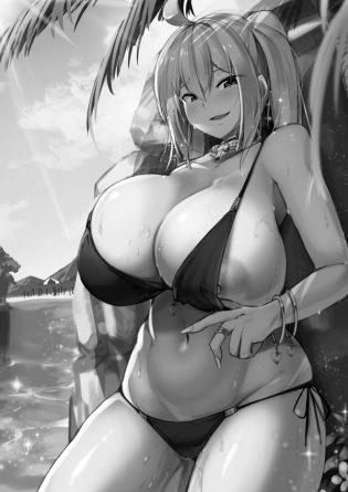 【エロ漫画】恋人未満、セフレの一人的に思われてる爆乳ギャルとの海デート。エロ過ぎる身体に自然と視線はおっぱいに釘付けに。。豪快なフェラチオパイズリで射精しつつ、好きな気持ち込めて濃厚SEXしまくってめでたく交際決定!
