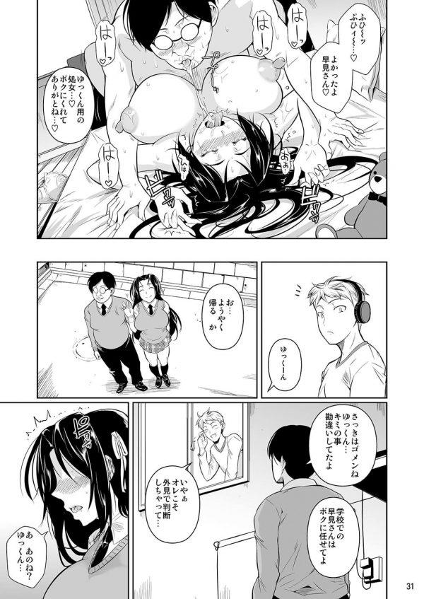 【エロ漫画】盲目な幼馴染の巨乳女子校生が下衆なキモ男に寝取られてしまった・・・目が見えないのを良い事にチンポ差し出して手コキやフェラチオさせた挙句にちんぽぶち込んで中出しSEX・・激しいHに次第に心も堕ちてしまい・・・ (32)
