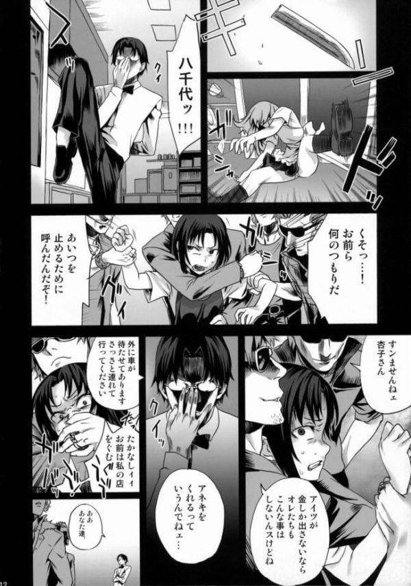 【WORKING!! エロ同人】伊波まひるは捕らわれてしまい、目隠しされて男達に体中を触られて快楽の虜になっていく!キスしただけで潮吹きするようになってしまい、夢中でチンポをしゃぶって中出しされるとイキまくっちゃうのでしたwww(11)