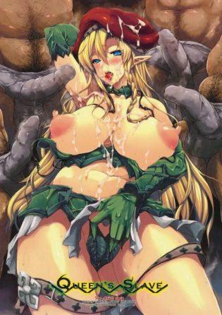 【クイーンズブレイド エロ同人】アレインは捕まってしまい拘束され、男達の性処理用便器として利用される!ノワに会う為と我慢して全て受け入れようとするも、男達の大量射精に身体がザーメンまみれになるwww
