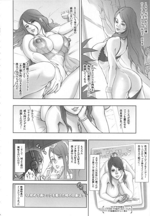 【エロ漫画同人誌】鼻フック好きは必見!男は憧れていたグラビアアイドルとセックスする事になり、H中ずっと鼻フックしちゃう!【肉りんご】(2)