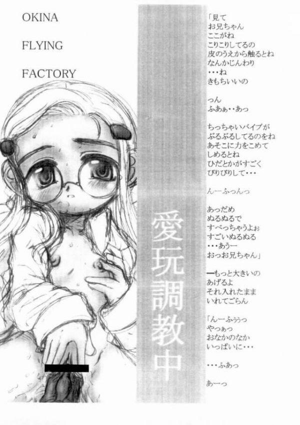 【エロ漫画・エロ同人誌】無口な貧乳幼女をもっと気持ちよくさせるために薬を注入してアナルファック!!【Okina Flying Factory】(8)
