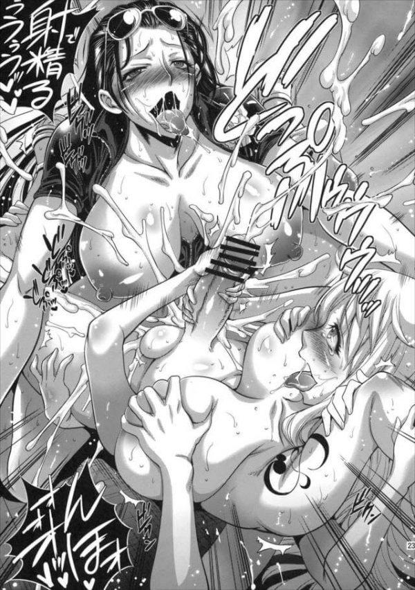 【エロ同人 ワンピース】久し振りにあったナミとニコ・ロビンは早速体を弄り合ってふたなりレズエッチしちゃう!【武蔵堂 エロ漫画】(23)