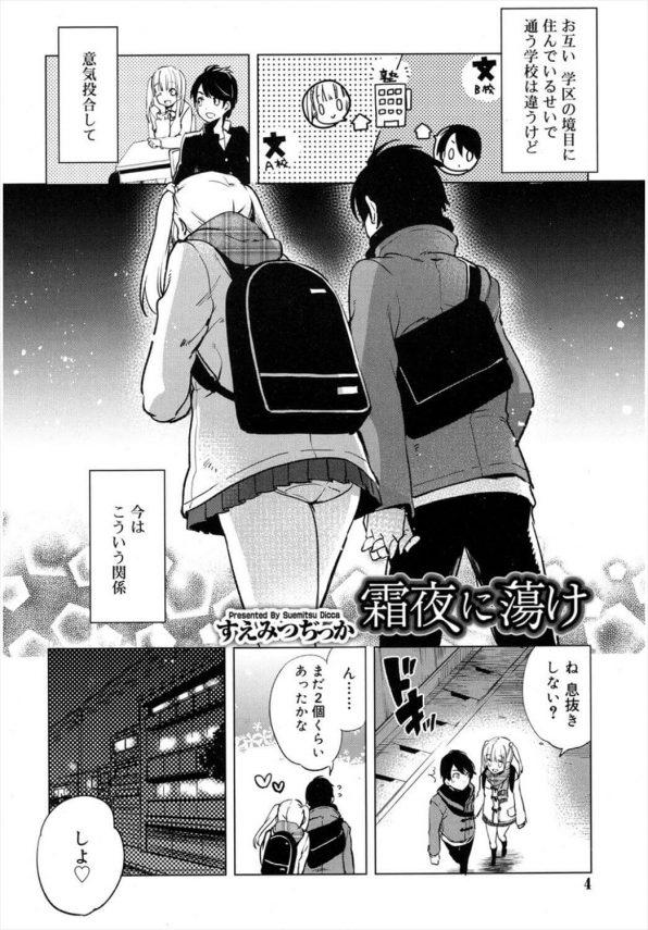 【エロ漫画】塾で出会ったDCとJCは、塾からの帰り道が唯一のデート場所。真冬の公園で2人は、互いの温もりを感じラブラブ青姦H♡【すえみつぢっか エロ同人】 (2)