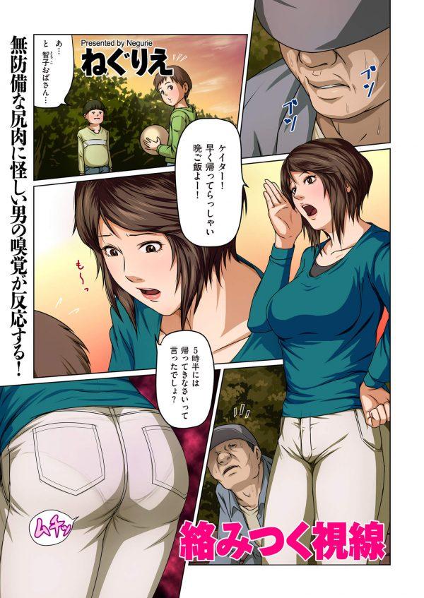 【エロ漫画】公園で人妻のお尻を視姦する怪しげな男。後日、人妻の家に警官の格好でやって来て陵辱レイプ。【ねぐりえ エロ同人】(2)