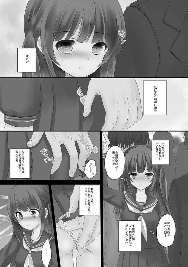 【エロ漫画】セーラー服の少女が電車に乗っていると痴漢されてしまい抵抗出来ずに輪姦状態に!【無料 エロ同人】 (3)