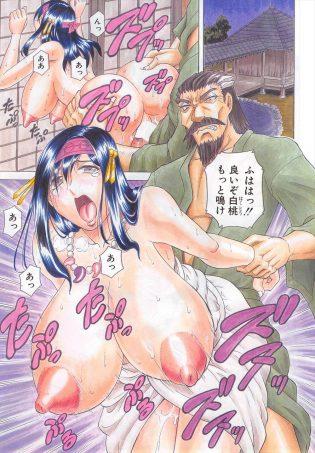 【エロ漫画】白桃はバックで爆乳を揺らしながら激しく突かれ、パイズリで精子ぶっかけられている!【無料 エロ同人】