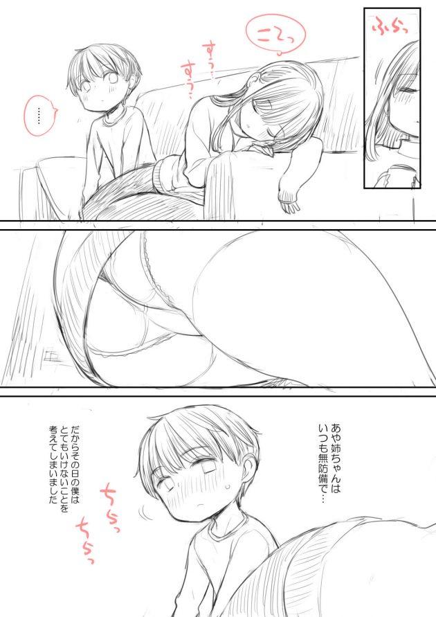 【エロ同人誌】男は大好きな巨乳お姉さんが寝てるスキに巨乳を揉み陥没乳首を吸い始めたwww【無料 エロ漫画】(1)