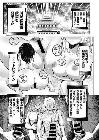 【エロ漫画】少子化問題を解決する為に国民総結婚政策が発案された未来の社会で、学校のセックス実技試験を受けることになった男。【無料 エロ同人】