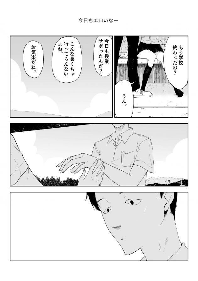【エロ同人誌】田舎のバス停で巨乳JKにチンコを出せ言われた男の子はそのまま彼女にフェラされち(6)