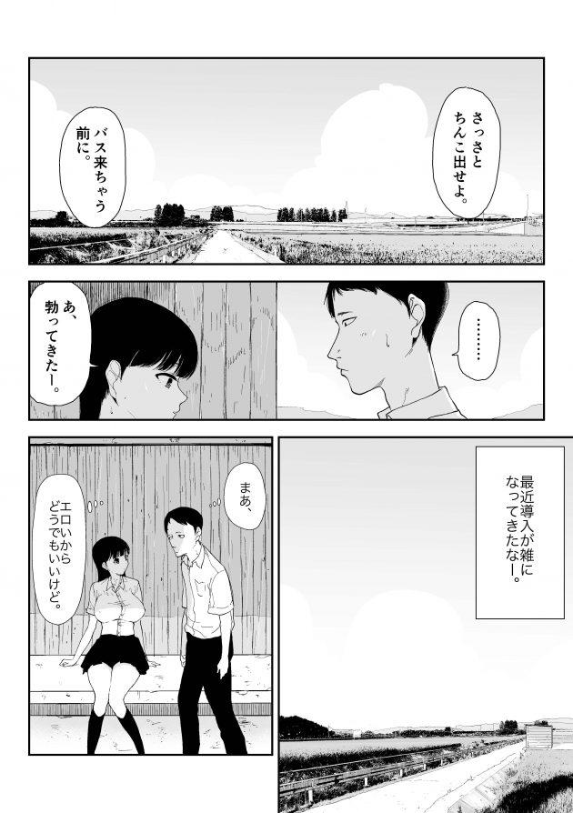 【エロ同人誌】田舎のバス停で巨乳JKにチンコを出せ言われた男の子はそのまま彼女にフェラされち(8)