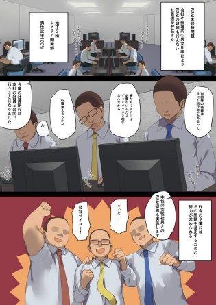 【エロ同人誌】社員旅行で同じ会社の男性社員たちにビジネスセックスマナーを見学させ【無料 エロ漫画】